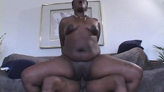 Black hoochie mama in high heels rides on a dick like a total champ