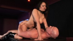 Annie Cruz sucks his dick and gets fucked but wants to strapon fuck him