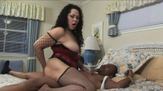 Chubby Isabella Cream chokes on his big cock and gets impaled by it