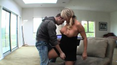 Chubby, big tit blonde MILF goes for a younger cock to play with