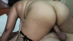 Voluptuous babe in fishnet stockings Nicole goes wild for a big cock