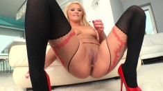 Sensuous blonde beauty in sexy lingerie Lana pleases her aching snatch