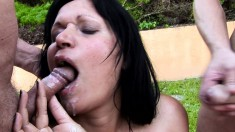 Dark-haired skank gets a mouthful of this hunk's thick boner