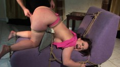 Curvaceous brunette fulfills her bondage fantasy and gets nailed hard