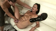 Luscious granny Marija spreads her legs and gets her snatch pleased