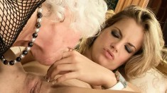 Mesmerizing Blonde Teeny Engages In Lesbian Love With A Mature Woman