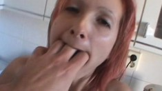 Eager redhead wants to have fun with an insatiable jackhammer