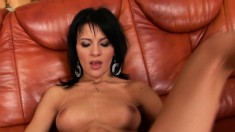 Skinny Daiana toys her twat and gets help with more toys and a fist