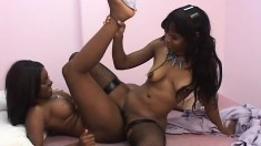 Two black ladies fulfill their lesbian fantasy with a strap-on dildo