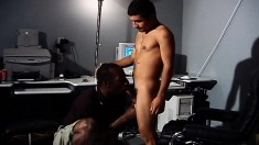 Hot black stud has a Latino's cock filling his mouth and his anal hole