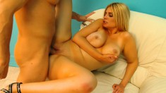 Buxom blonde Brooklyn Bailey puts his cock in any hole she wants