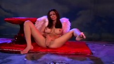 Angelic Latina with big boobs plays with a dildo and fucks a hard cock