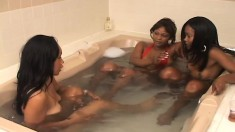 Enticing Ebony Lesbians Use A Strap-on Dildo To Satisfy Their Desires