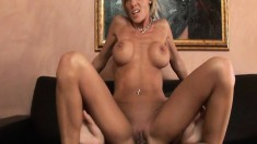 Naughty blonde milf Desire gets her narrow peach devoured and fucked