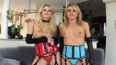 Two trashy blondes in sexy lingerie share a hard cock and a hot load