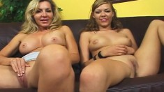 Nicole and Lisa take turns on Dave's big cock and share his hot juices