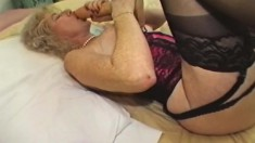 Big Breasted Granny In Lingerie Spreads Her Legs For A Huge Black Dick
