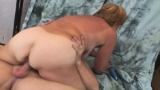 Short haired granny satisfies her desire for wild sex and warm sperm