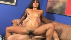 Sexy Asian babe with a hairy cunt gets licked and fucked by a white dick