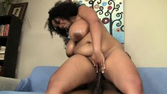 Big Latina with huge knockers titty fucks and rides his prick before sucking him off