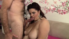 Lustful plumper in black stockings gets her pussy eaten out and fucked