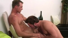 Pretty boy has an experienced hunk plowing his hungry ass from behind