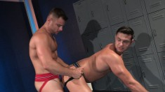 Wild boy spreads his legs for his lover's hard pole in the locker room