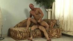 Inked hunky guy is addicted to having his massive boner sucked