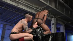 A pair of dirty hunks love to have some interracial anal fun