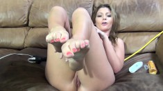 Sultry blonde with big boobs Brianna Banks blows and fucks a long pole