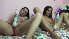 Hot babes Ariana Marie and Loni Evans work their magic on hard sticks