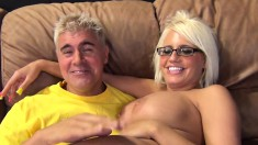 Bodacious blonde with glasses Jacky Joy relishes a hot ride of fucking