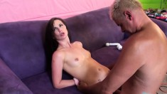 Submissive girl Lily Carter fucks a long rod and takes a huge facial