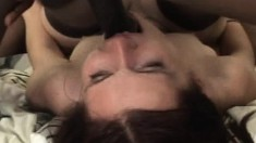 Slutty brunette in stockings Jane gets drilled rough by black bulls