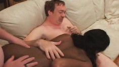 Buxom Ebony Girl With A Superb Ass Shandra Takes On Three White Dicks