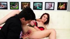 Ravishing redhead girl with big boobs Macy Monroe enjoys hardcore sex