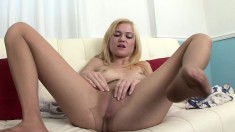 Cute blonde in pantyhose and red shoes Chloe Foster fingers her peach