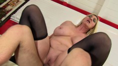 Voluptuous Blonde Milf In Black Stockings Gets Fucked By A Young Stud