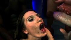 German slut gets a lot of bukkakes and cumshots
