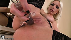 The real fun for nasty blonde is licking dildo and sending it to her coochie
