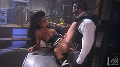 Skanky babe with wild hair gets a facial from Dr Frankenstein