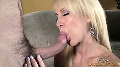 Horny blonde mature uses her lips and sexy tits to get that cock ready for action