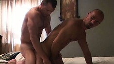 Bending forward, he happily welcomes his buddy's hard shaft in his tight ass