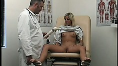 Sweet blonde meets with the doctor and he prescribes masturbation
