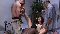 Latina slut with a tight little body gets banged hard by two BBCs