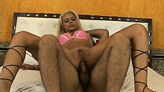 Blonde Latina keeps her pink bra on when he fucks her ass and pussy