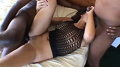 Gorgeous gal Gia is hungry for dark and light meat and gets her full of both