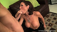 Busty brunette milf Veronica Avluv licks the stud's anal hole and fucks his big cock