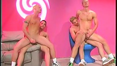 Two horny gay couples watch each other enjoy lots of hardcore anal action
