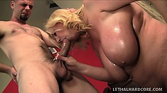 Stacked blonde cougar has a guy eating out her pussy and she blows his long cock